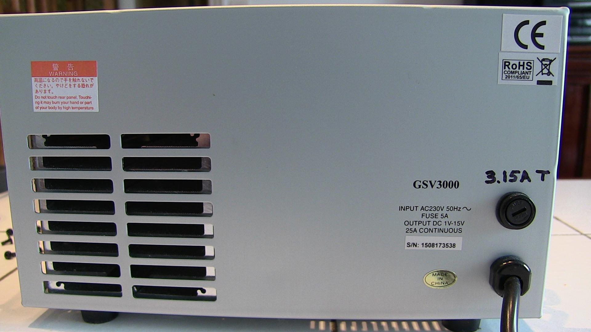 Diamond GSV3000 : Fusible surdimmensionné (Cas général des alimentations) GSV3000_Derriere_fusible