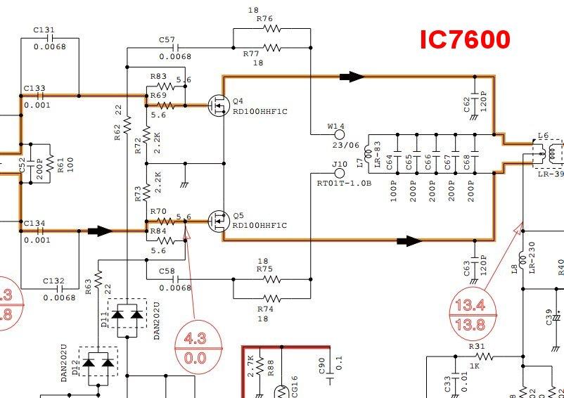 FT991 : Vérifier le courant de repos du PA (Transistors RD100HHF1) IC7600-PA-sche